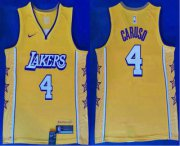Wholesale Cheap Men's Los Angeles Lakers #4 Alex Caruso Yellow 2020 Nike City Edition Swingman Jersey