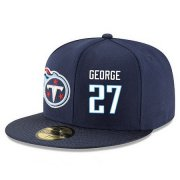 Wholesale Cheap Tennessee Titans #27 Eddie George Snapback Cap NFL Player Navy Blue with White Number Stitched Hat