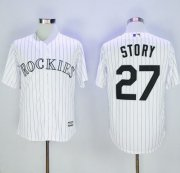 Wholesale Cheap Rockies #27 Trevor Story White Strip New Cool Base Stitched MLB Jersey