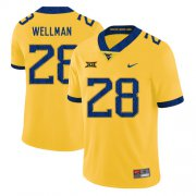 Wholesale Cheap West Virginia Mountaineers 28 Elijah Wellman Yellow College Football Jersey