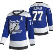 Wholesale Cheap Tampa Bay Lightning #77 Victor Hedman Blue Men's Adidas 2020-21 Reverse Retro Alternate NHL Jersey