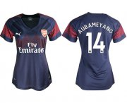 Wholesale Cheap Women's Arsenal #14 Aubameyang Away Soccer Club Jersey