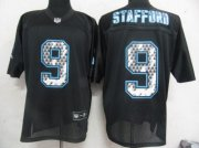 Wholesale Cheap Sideline Black United Lions #9 Matthew Stafford Black Stitched NFL Jersey