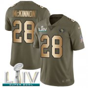 Wholesale Cheap Nike 49ers #28 Jerick McKinnon Olive/Gold Super Bowl LIV 2020 Youth Stitched NFL Limited 2017 Salute To Service Jersey