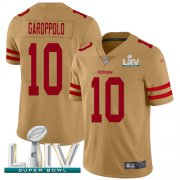 Wholesale Cheap Nike 49ers #10 Jimmy Garoppolo Gold Super Bowl LIV 2020 Men's Stitched NFL Limited Inverted Legend Jersey
