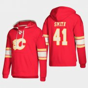 Wholesale Cheap Calgary Flames #41 Mike Smith Red adidas Lace-Up Pullover Hoodie