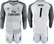 Wholesale Cheap Real Madrid #1 Navas Grey Goalkeeper Long Sleeves Soccer Club Jersey