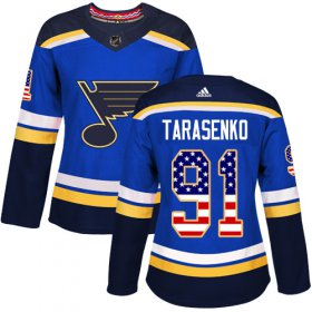 Wholesale Cheap Adidas Blues #91 Vladimir Tarasenko Blue Home Authentic USA Flag Women\'s Stitched NHL Jersey