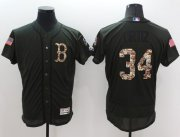 Wholesale Red Sox #34 David Ortiz Green Flexbase Authentic Collection Salute to Service Stitched Baseball Jersey