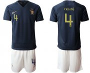 Wholesale Cheap France #4 Varane Home Soccer Country Jersey