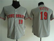 Wholesale Cheap Reds #19 Joey Votto Grey Cool Base Stitched Youth MLB Jersey