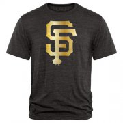 Wholesale Cheap San Francisco Giants Fanatics Apparel Gold Collection Tri-Blend T-Shirt Black