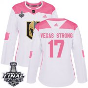 Wholesale Cheap Adidas Golden Knights #17 Vegas Strong White/Pink Authentic Fashion 2018 Stanley Cup Final Women's Stitched NHL Jersey