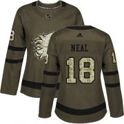Wholesale Cheap Adidas Flames #18 James Neal Green Salute to Service Women's Stitched NHL Jersey