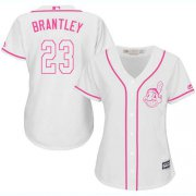 Wholesale Cheap Indians #23 Michael Brantley White/Pink Fashion Women's Stitched MLB Jersey