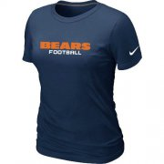 Wholesale Cheap Women's Nike Chicago Bears Sideline Legend Authentic Font T-Shirt D.Blue