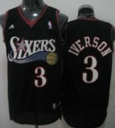 Wholesale Cheap Philadelphia 76ers #3 Allen Iverson Black Swingman Jersey