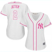 Wholesale Cheap Yankees #2 Derek Jeter White/Pink Fashion Women's Stitched MLB Jersey