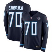 Wholesale Cheap Nike Titans #70 Ty Sambrailo Navy Blue Team Color Youth Stitched NFL Limited Therma Long Sleeve Jersey