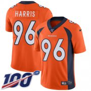 Wholesale Cheap Nike Broncos #96 Shelby Harris Orange Team Color Men's Stitched NFL 100th Season Vapor Untouchable Limited Jersey