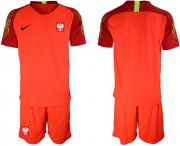 Wholesale Cheap Poland Blank Red Goalkeeper Soccer Country Jersey