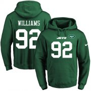 Wholesale Cheap Nike Jets #92 Leonard Williams Green Name & Number Pullover NFL Hoodie