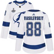 Cheap Adidas Lightning #88 Andrei Vasilevskiy White Road Authentic Women's 2020 Stanley Cup Champions Stitched NHL Jersey