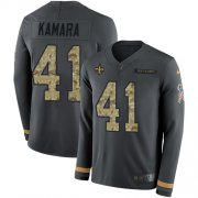 Wholesale Cheap Nike Saints #41 Alvin Kamara Anthracite Salute to Service Men's Stitched NFL Limited Therma Long Sleeve Jersey