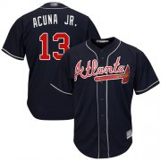 Wholesale Cheap Braves #13 Ronald Acuna Jr. Navy Blue Cool Base Stitched Youth MLB Jersey