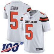 Wholesale Cheap Nike Browns #5 Case Keenum White Youth Stitched NFL 100th Season Vapor Untouchable Limited Jersey