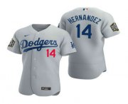 Wholesale Cheap Men's Los Angeles Dodgers #14 Enrique Hernandez Gray 2020 World Series Authentic Flex Nike Jersey