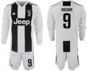 Wholesale Cheap Juventus #9 Higuain Home Long Sleeves Soccer Club Jersey