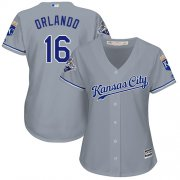 Wholesale Cheap Royals #16 Paulo Orlando Grey Road Women's Stitched MLB Jersey