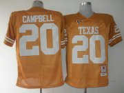 Wholesale Cheap Men's Texas Longhorns #20 Earl Campbell Orange Throwback NCAA Football Jersey