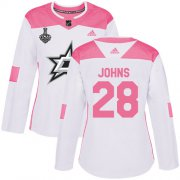 Cheap Adidas Stars #28 Stephen Johns White/Pink Authentic Fashion Women's 2020 Stanley Cup Final Stitched NHL Jersey