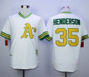 Wholesale Cheap Mitchell And Ness Athletics #35 Rickey Henderson White Cool Base Stitched MLB Jersey