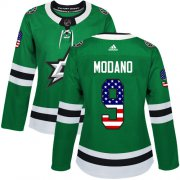 Wholesale Cheap Adidas Stars #9 Mike Modano Green Home Authentic USA Flag Women's Stitched NHL Jersey