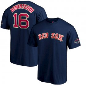 Wholesale Cheap Boston Red Sox #16 Andrew Benintendi Majestic 2019 Gold Program Name & Number T-Shirt Navy