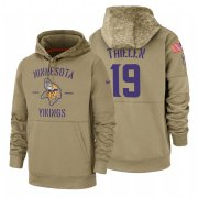 Wholesale Cheap Minnesota Vikings #19 Adam Thielen Nike Tan 2019 Salute To Service Name & Number Sideline Therma Pullover Hoodie