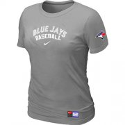 Wholesale Cheap Women's Toronto Blue Jays Nike Short Sleeve Practice MLB T-Shirt Light Grey