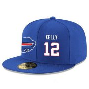 Wholesale Cheap Buffalo Bills #12 Jim Kelly Snapback Cap NFL Player Royal Blue with White Number Stitched Hat