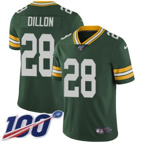 Wholesale Cheap Nike Packers #28 AJ Dillon Green Team Color Men\'s Stitched NFL 100th Season Vapor Untouchable Limited Jersey