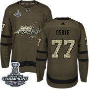 Wholesale Cheap Adidas Capitals #77 T.J Oshie Green Salute to Service Stanley Cup Final Champions Stitched NHL Jersey
