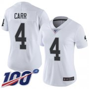 Wholesale Cheap Nike Raiders #4 Derek Carr White Women's Stitched NFL 100th Season Vapor Limited Jersey