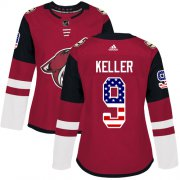 Wholesale Cheap Adidas Coyotes #9 Clayton Keller Maroon Home Authentic USA Flag Women's Stitched NHL Jersey