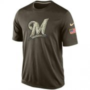 Wholesale Cheap Men's Milwaukee Brewers Salute To Service Nike Dri-FIT T-Shirt