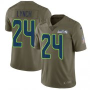 Wholesale Cheap Nike Seahawks #24 Marshawn Lynch Olive Men's Stitched NFL Limited 2017 Salute to Service Jersey