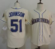 Wholesale Cheap Mariners #51 Randy Johnson Cream New Cool Base Stitched MLB Jersey