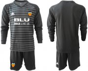 Wholesale Cheap Valencia Blank Black Goalkeeper Long Sleeves Soccer Club Jersey