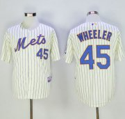 Wholesale Cheap Mets #45 Zack Wheeler Cream(Blue Strip) Alternate Cool Base Stitched MLB Jersey